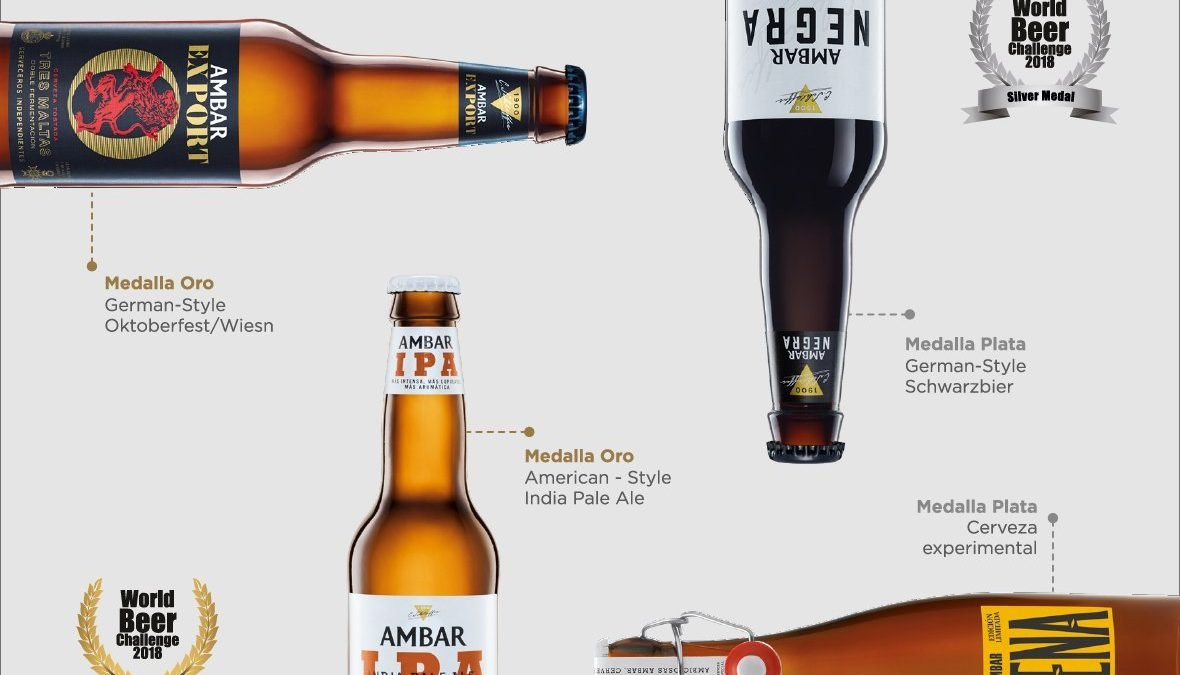Ambar IPA y Ambar Export medalla de oro en el World Beer Challenge 2018